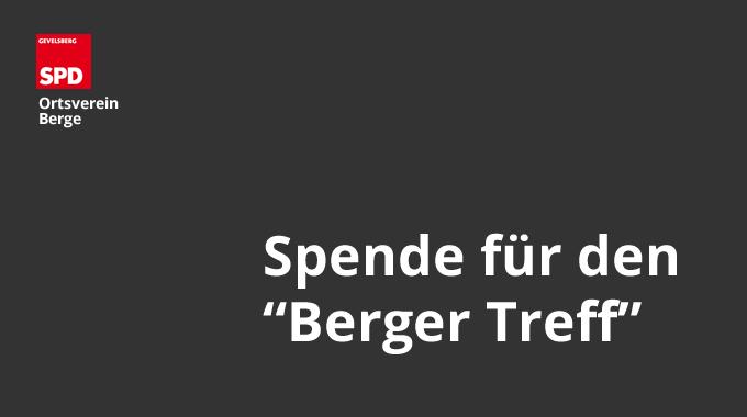 """Spende Für Den """"Berger Treff"""""""