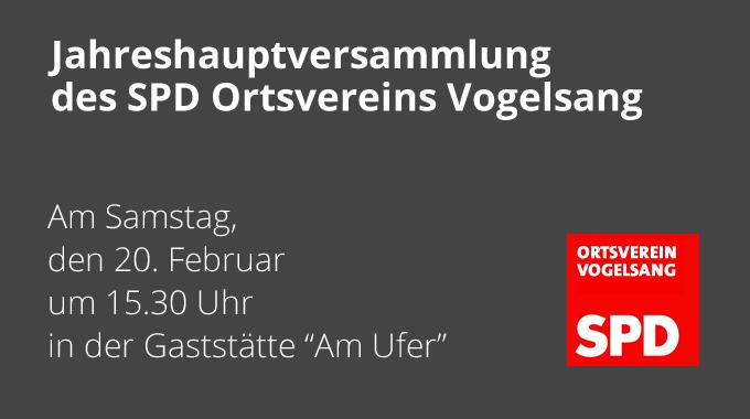 Jahreshauptversammlung Des SPD Ortsvereins Vogelsang
