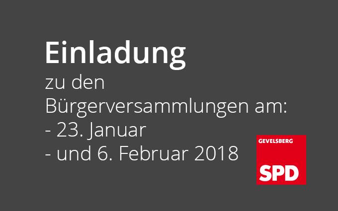 Einladungen Zu Bürgerversammlungen Am 23. Januar Und 6. Februar 2018