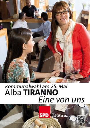 """Im """"La Bruschetta"""" sind Alba Tiranno mit Ehemann und Kindern gern gesehene Gäste. Genauso erfreuen sich aber natürlich viele Gäste der Familie Tiranno dort auch an der deutschen Küche: Kochen, tanzen und gärtnern sind die Hobbies Ihrer Ratskandidatin."""