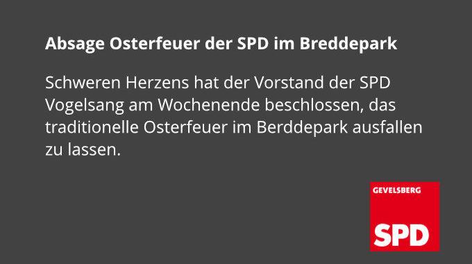 Absage Osterfeuer Der SPD Im Breddepark